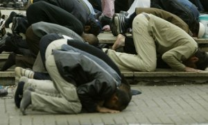 Muslims pray at the Central London mosque