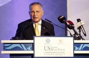 Organization of Islamic Cooperation Secretary General Ihsanoglu speaks during the U.S.-Islamic World Forum in Doha