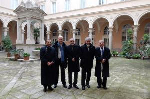 L_R_Tareq_Oubrou_Bishop_Michel_Dubost_Djelloul_Seddiki_Fr_Christophe_Roucou_and_Mohammed_Moussaoui_in_Rome_Jan_8_2015_Credit_Andrea_Gagliarducci_CNA_CNA_1_8_15