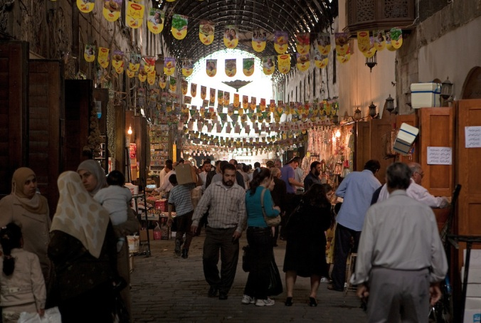 Busy street scene, Damascus Souq