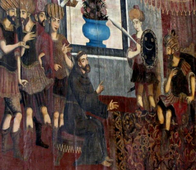 Painting_on_wood_depicting_Saint_Francis_of_Assisi's_visit_to_the_sultan_of_Damascus crop