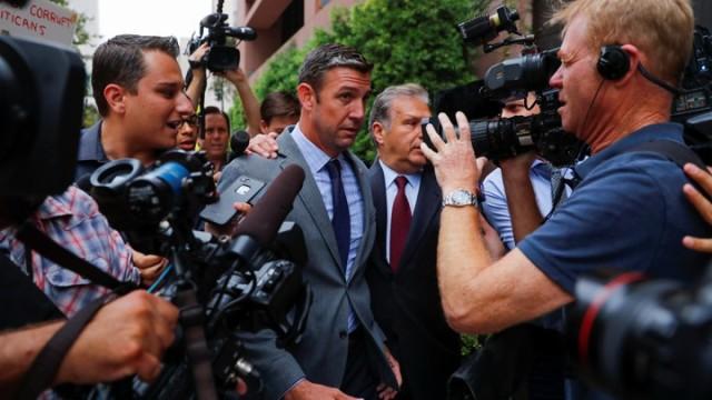 Congressman Duncan Hunter (R-CA) arrives at federal court in San Diego, California