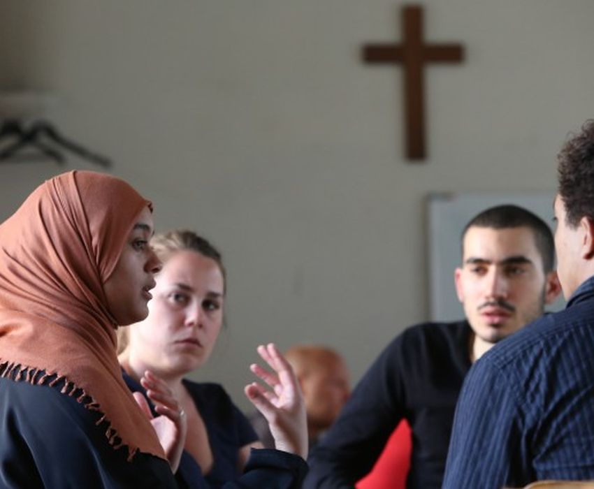 Inter-religious meeting in a church